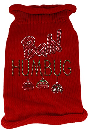 Bah Humbug Rhinestone Knit Pet Sweater MD Red